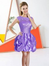 Unique Knee Length Backless Court Dresses for Sweet 16 Lavender for Prom and Party with Beading and Lace and Ruffles