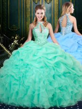 Trendy Apple Green Ball Gowns Beading and Ruffles and Pick Ups Ball Gown Prom Dress Lace Up Organza Sleeveless Floor Length