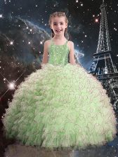 Luxurious Sleeveless Beading and Ruffles Lace Up Little Girls Pageant Gowns