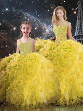 Floor Length Yellow Sweet 16 Dresses Sweetheart Sleeveless Lace Up