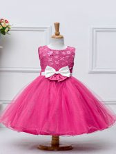 Knee Length Hot Pink Little Girls Pageant Dress Wholesale Tulle Sleeveless Lace and Bowknot