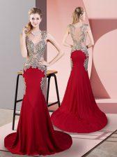 V-neck Sleeveless Elastic Woven Satin Prom Evening Gown Beading Brush Train Side Zipper