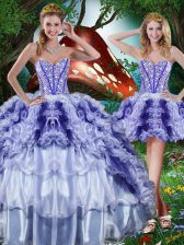 Sweetheart Sleeveless Lace Up Sweet 16 Dress Multi-color Organza