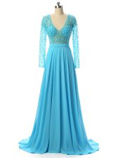 Classical Zipper Prom Evening Gown Baby Blue for Prom and Sweet 16 with Beading Brush Train