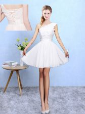 Shining Knee Length A-line Sleeveless White Quinceanera Court Dresses Lace Up