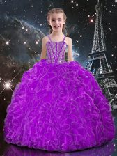 Customized Eggplant Purple Lace Up Straps Beading and Ruffles Girls Pageant Dresses Organza Sleeveless