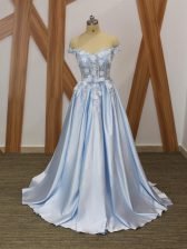 Glamorous Elastic Woven Satin Off The Shoulder Sleeveless Lace Up Appliques and Belt Prom Party Dress in Light Blue