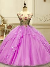 Sumptuous Scoop Sleeveless Sweet 16 Dresses Floor Length Appliques Lilac Tulle