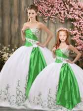 White Sweetheart Neckline Embroidery and Belt Quince Ball Gowns Sleeveless Lace Up