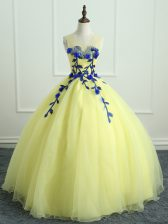 Colorful Light Yellow Organza Lace Up Sweet 16 Dress Sleeveless Floor Length Hand Made Flower