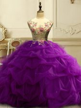 Chic Floor Length Ball Gowns Sleeveless Purple Quinceanera Dresses Lace Up