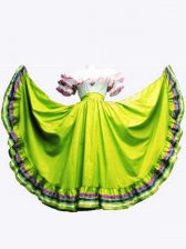 Custom Design Olive Green Sleeveless Floor Length Ruffled Layers Lace Up 15 Quinceanera Dress