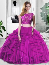 Sleeveless Floor Length Lace and Ruffles Zipper Ball Gown Prom Dress with Fuchsia