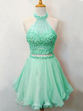 Organza Sleeveless Knee Length Quinceanera Court Dresses and Beading