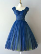 Fitting Blue Court Dresses for Sweet 16 Prom and Party and Military Ball and Sweet 16 with Ruching V-neck Cap Sleeves Lace Up
