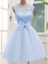 Elegant Lavender Tulle Lace Up Scoop Sleeveless Knee Length Dama Dress for Quinceanera Lace