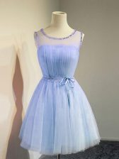Romantic Sleeveless Lace Up Knee Length Belt Quinceanera Court of Honor Dress