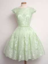 Sophisticated Cap Sleeves Knee Length Lace Lace Up Dama Dress for Quinceanera with Yellow Green