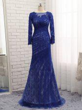 Column/Sheath Long Sleeves Blue Homecoming Dress Brush Train Zipper