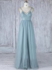 Enchanting Sleeveless Tulle Floor Length Zipper Quinceanera Court of Honor Dress in Grey with Lace