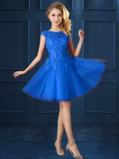 Knee Length Blue Court Dresses for Sweet 16 Bateau Cap Sleeves Lace Up