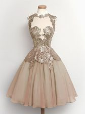Sophisticated Brown A-line Chiffon High-neck Sleeveless Lace Knee Length Lace Up Dama Dress