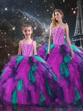Multi-color Ball Gowns Beading and Ruffles 15 Quinceanera Dress Lace Up Organza Sleeveless Floor Length
