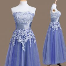 Hot Selling Sleeveless Tea Length Appliques Lace Up Quinceanera Court Dresses with Lavender