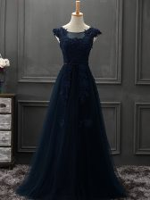 Great Floor Length Lace Up Navy Blue for Prom and Party with Appliques