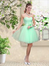 Affordable Tulle Sweetheart Sleeveless Lace Up Lace and Belt Vestidos de Damas in Apple Green