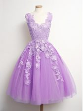 Sleeveless Appliques Lace Up Quinceanera Court of Honor Dress