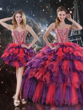 Organza Sweetheart Sleeveless Lace Up Beading and Ruffles and Ruffled Layers Quince Ball Gowns in Multi-color