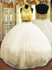 Floor Length Champagne Quinceanera Gown Tulle Sleeveless Beading