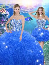 Royal Blue Lace Up Sweetheart Beading and Ruffles Quinceanera Gowns Organza Sleeveless