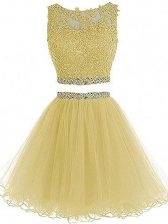 New Arrival Yellow Prom and Party and Sweet 16 with Beading and Lace and Appliques Sweetheart Sleeveless Zipper