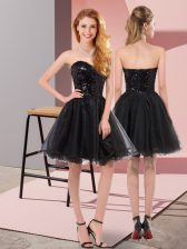 Shining Mini Length Black Prom Dress Tulle Sleeveless Sequins