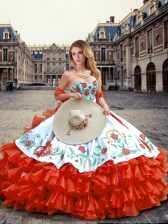 Orange Red Sweet 16 Dress Military Ball and Sweet 16 and Quinceanera with Embroidery and Ruffled Layers Sweetheart Sleeveless Lace Up