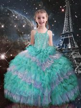 Sleeveless Beading and Ruffled Layers Lace Up Little Girls Pageant Gowns