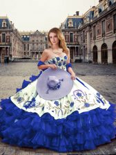 New Arrival Royal Blue Organza Lace Up Sweetheart Sleeveless Floor Length 15th Birthday Dress Embroidery and Ruffled Layers