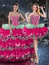 Superior Sleeveless Floor Length Beading and Ruffles and Ruffled Layers Lace Up Sweet 16 Dress with Multi-color