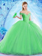 Pretty Green Ball Gowns Beading Ball Gown Prom Dress Lace Up Organza Sleeveless