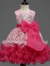 Tea Length Ball Gowns Sleeveless Hot Pink Girls Pageant Dresses Zipper