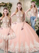 Unique Peach High-neck Backless Beading and Lace and Appliques Sweet 16 Dress Sleeveless