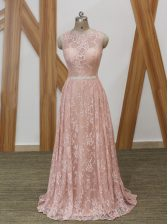 Custom Design Scoop Sleeveless Homecoming Dress Floor Length Brush Train Beading Pink Chiffon and Lace