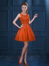 Orange Red A-line Scoop Sleeveless Tulle Knee Length Zipper Lace and Ruffled Layers Quinceanera Dama Dress
