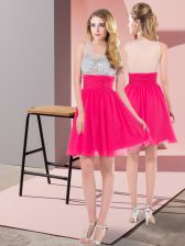 Smart Sleeveless Chiffon Mini Length Side Zipper Prom Gown in Hot Pink with Beading