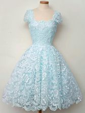 Discount Knee Length Aqua Blue Court Dresses for Sweet 16 Straps Cap Sleeves Lace Up