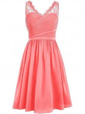 Sleeveless Chiffon Knee Length Side Zipper Dama Dress in Watermelon Red with Lace and Ruching