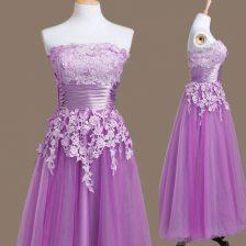 Romantic Tea Length Purple Quinceanera Court Dresses Tulle Sleeveless Appliques