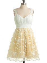 Champagne Straps Neckline Lace Dama Dress for Quinceanera Sleeveless Lace Up
